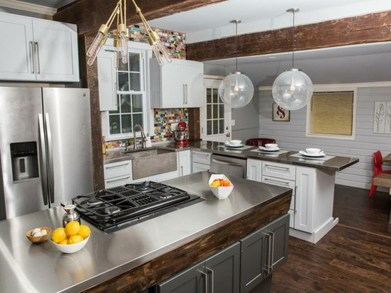 cocinas rusticas diseños metales acabados acero