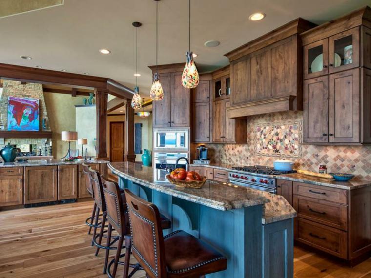 cocinas rusticas diseños taburetes cuero azules