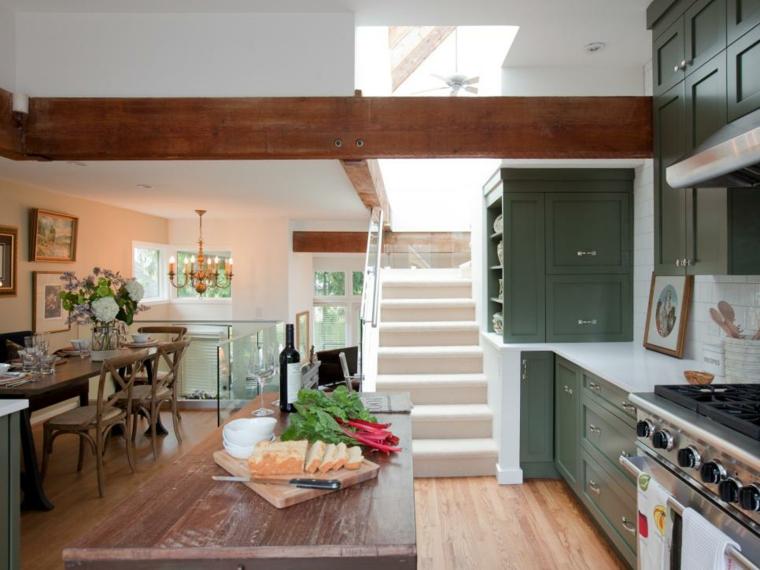 cocinas rusticas diseños verde maderas salones