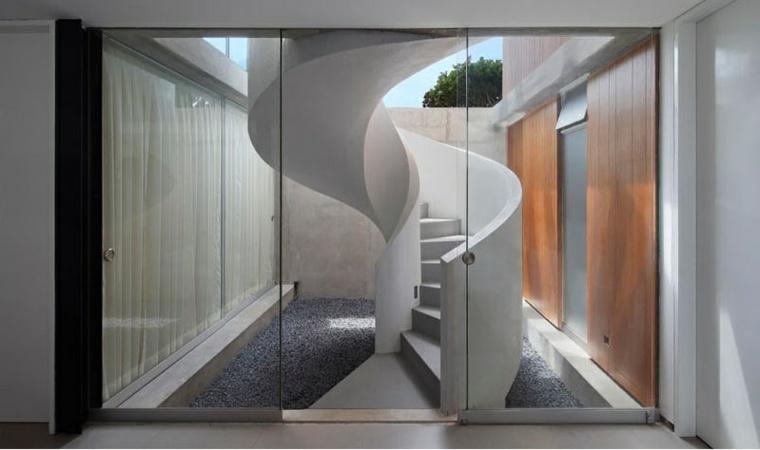 combiacion blanco gris escalera moderna decoraciones ambientes