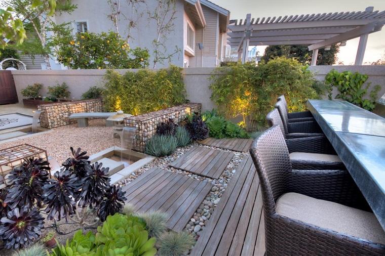 como hacer un jardín con piedras-comedor-exterior-moderno