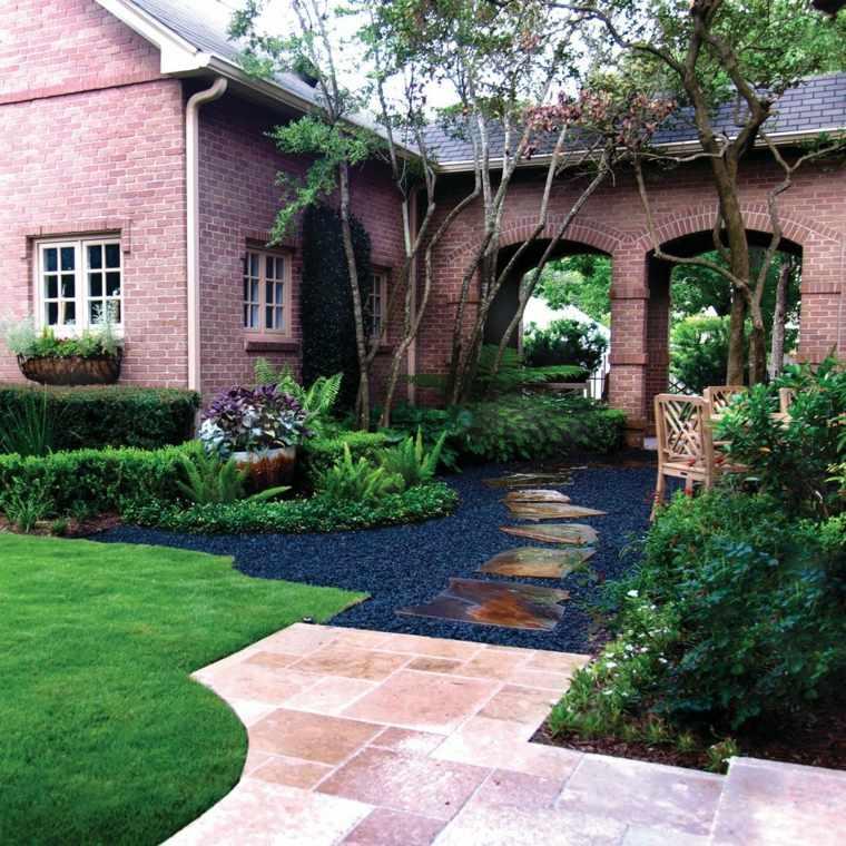 como hacer un jardín con piedras-decoracion-entrada