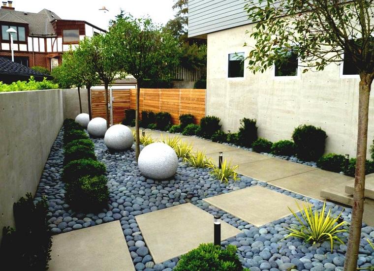 como hacer un jardín con piedras-losas-grandes