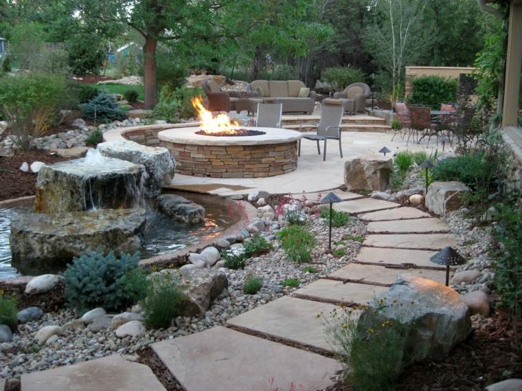 como hacer un jardín con piedras-pozo-fuego