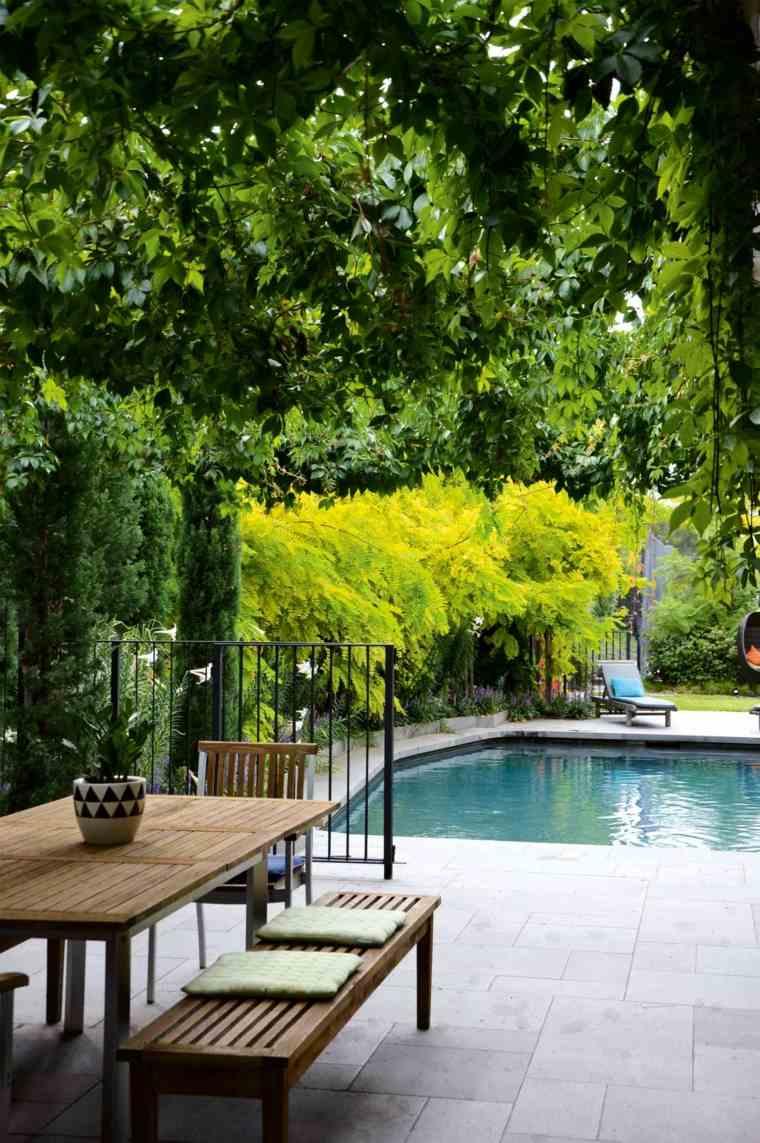 decoracion de jardines con piscina comedor ideas