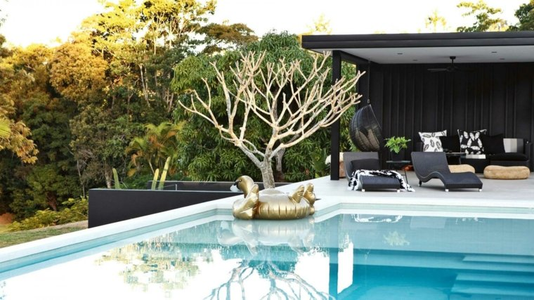 decoracion de jardines con piscina diseno elegante ideas