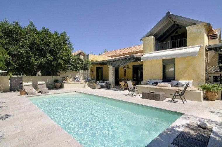 decoración de jardines con piscina espacio amplio ideas