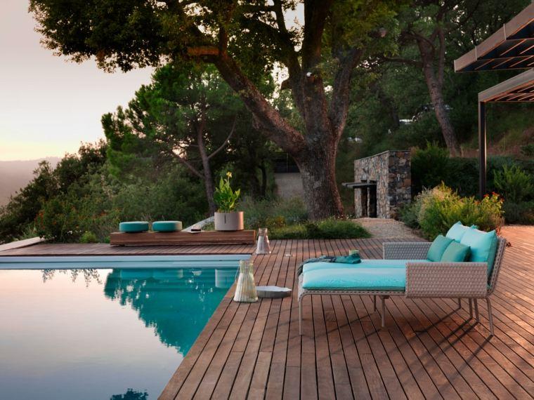 decoración de jardines con piscina muebles estilo moderno ideas