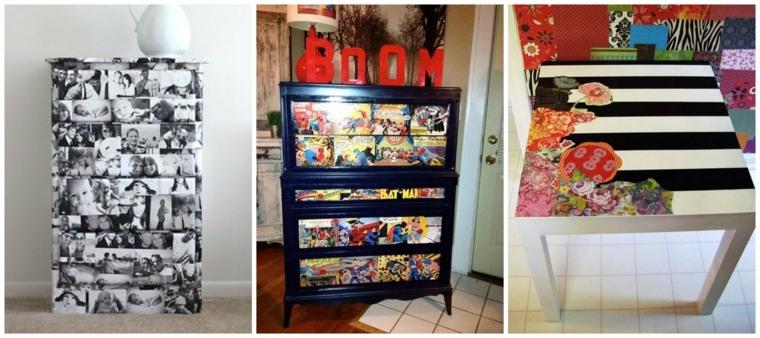 decorar muebles con papel pintado interior