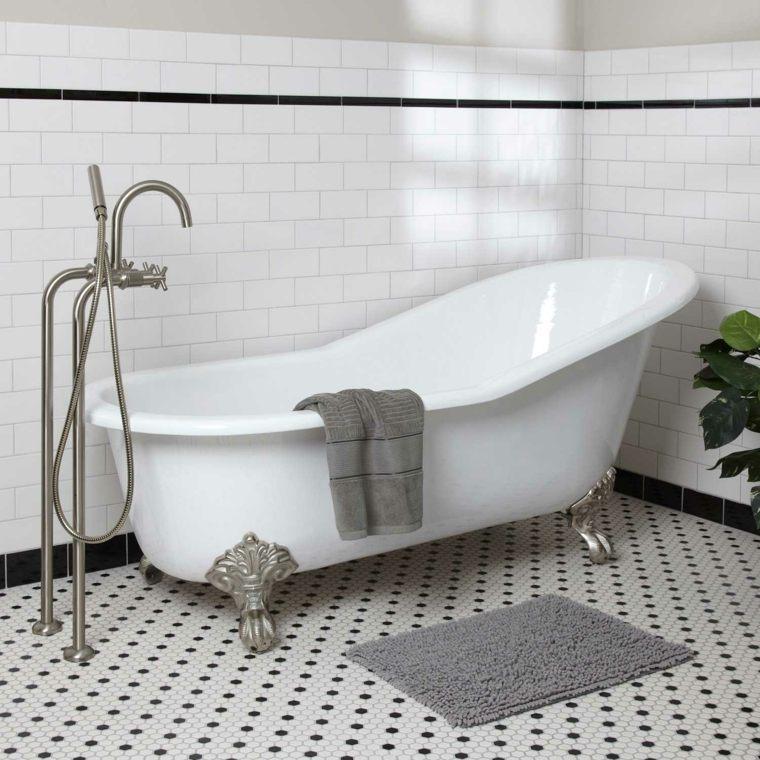 diseño de baños bañeras ambientes vintage grises