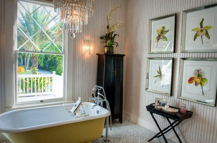 diseño de baños bañera cuadros paredes imagenes