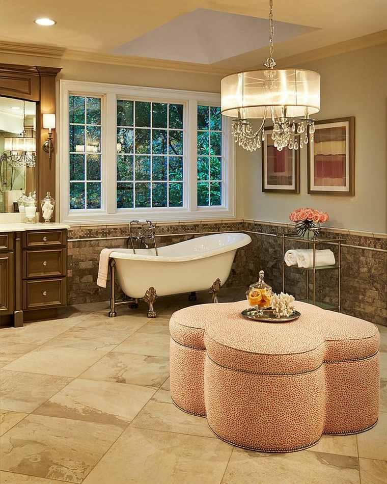 diseño de baños bañeras lamparas cristales mesas