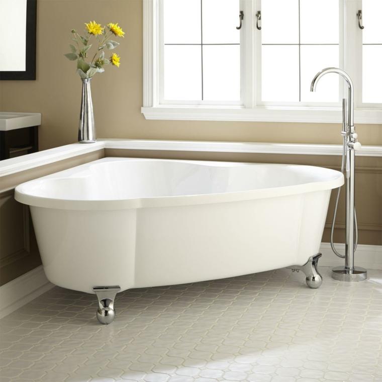 diseño de baños bañeras porcelana esquina fluida