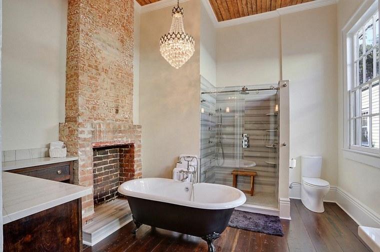 diseño de baños bañeras suelos madera calidos