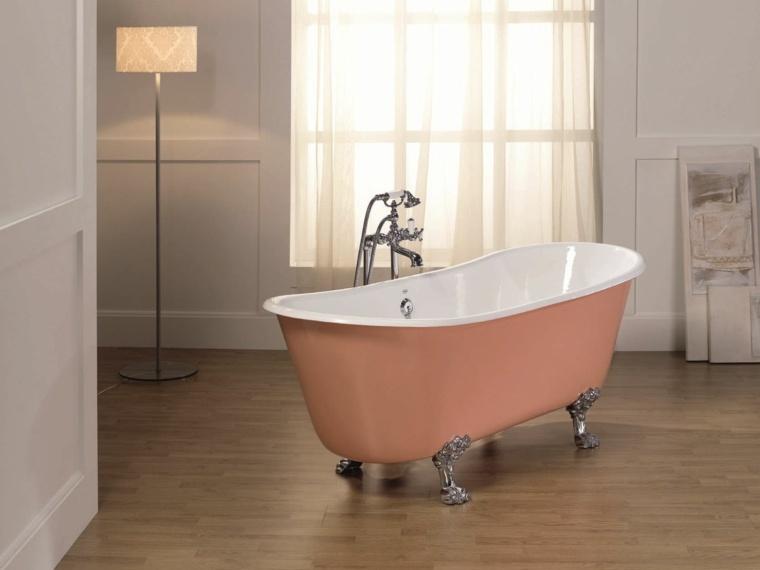 diseño de baños bañeras tonalidades pastel lineas