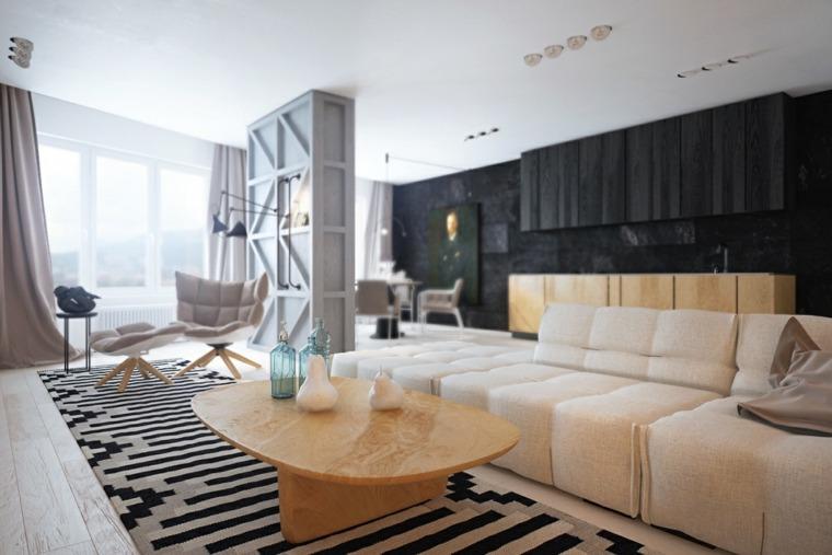 Dise o de interior que combina la madera y los colores for Disenos de interiores en blanco y negro