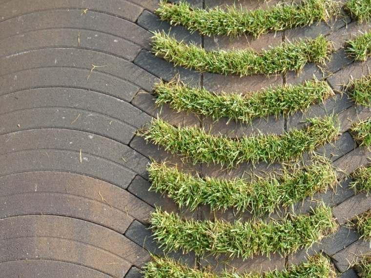 diseno original cemento hierba exterior ideas