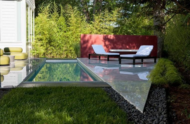 jardín moderno piscina