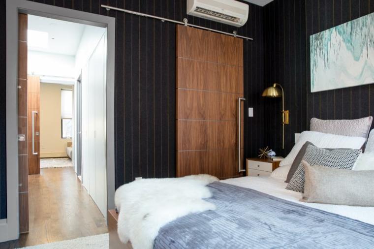 distribucion dormitorios puerta deslizante ganar espacio materiales