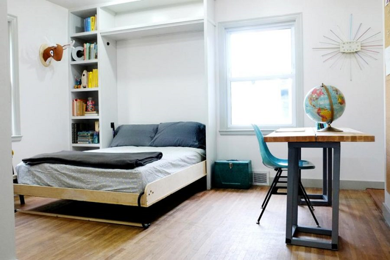 diseño habitación cama plegable