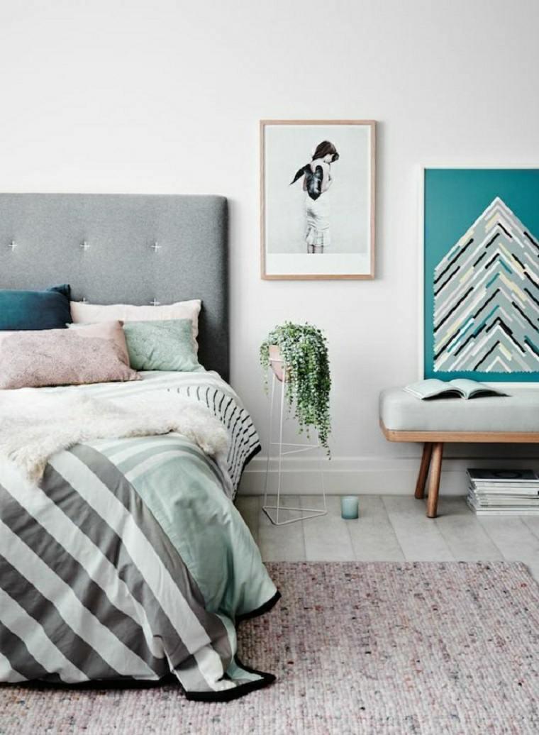 elegante dormitorio atractivo paredes lineas metales