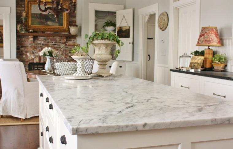 encimeras cocina diseno estilo Carrara Marble ideas