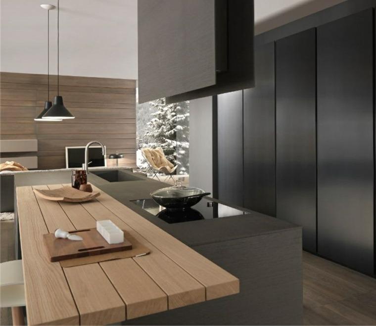 Dise ar cocinas con detalles y muebles de color negro - Cocina encimera madera ...