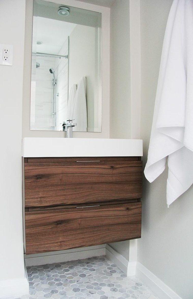 Encimeras para ba os flotantes y con armarios para decorar - Encimera bano madera ...