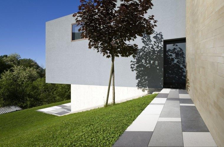 entrada casa camino losas estilo moderno ideas