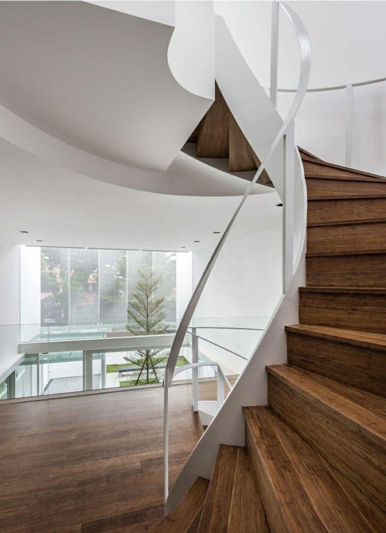 escaleras de caracol combinada cascada moderna continuidad