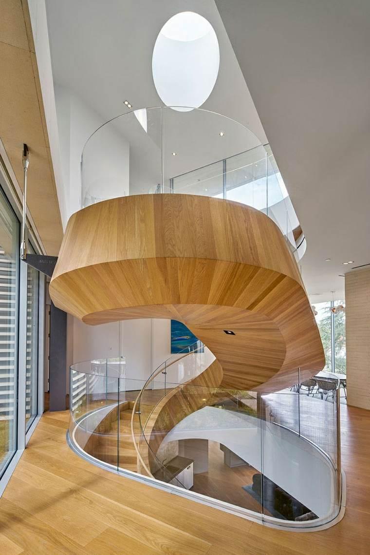 escaleras de caracol modernas naturales sillones