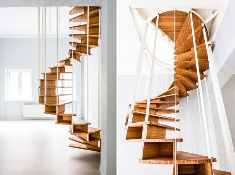 escaleras de caracol variante metalica madera ideas