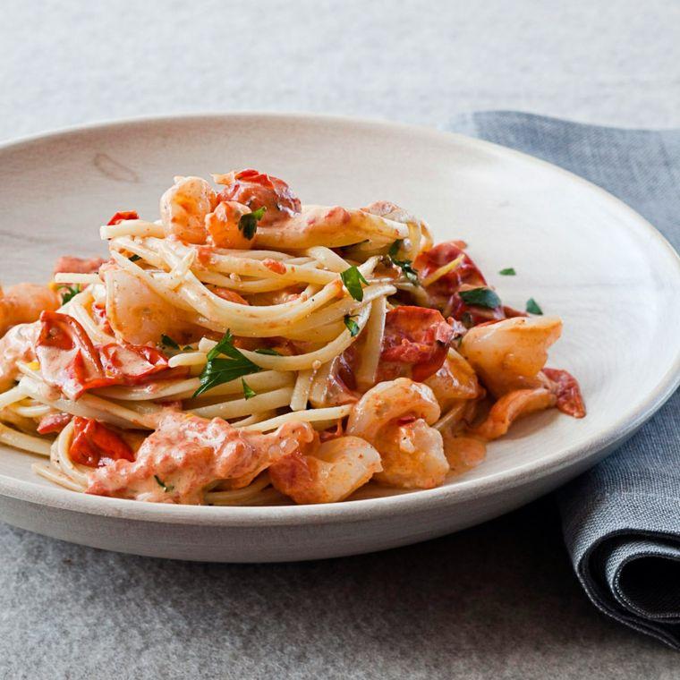 espaguetis con gambas preparar