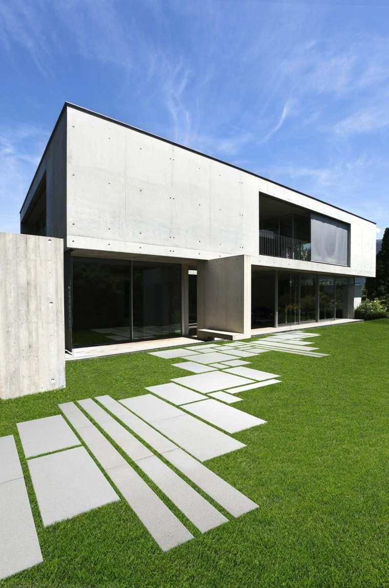 estilo jardin piedra losas distintos tamanos ideas