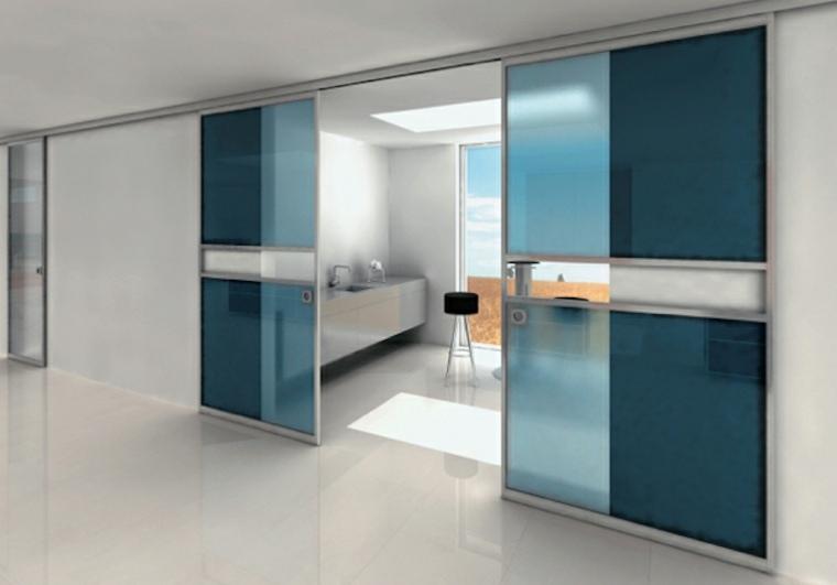 puertas correderas cristal azules