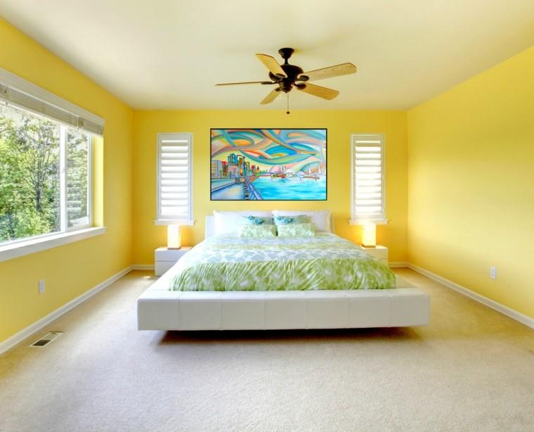 feng-shui-cama-madera-calidas-modernas-amarilla-ventiladores