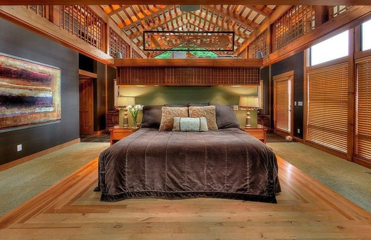 feng shui cama madera-calidas-modernas-puentes