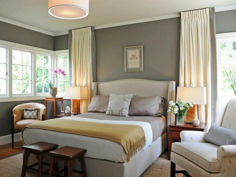 feng shui dormitorio cortinas-madera-bancas-lamparas