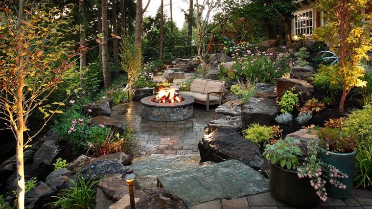 fotos de jardines rústicos-Alderwood-Landscaping-pozo-fuego