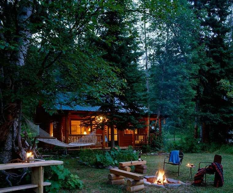 fotos de jardines rústicos-cabana-bosque
