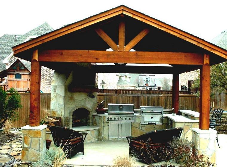 fotos de jardines rústicos-cocina-exterior-pergola