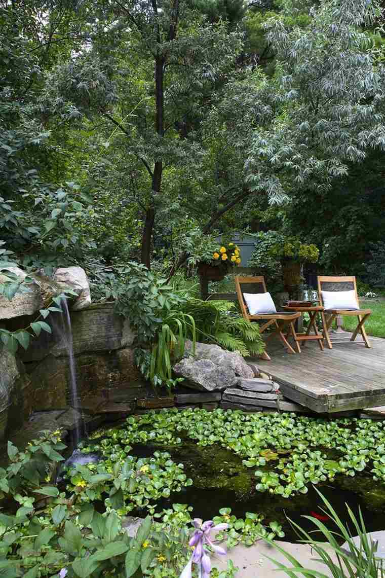 fotos de jardines rústicos-estanque-original