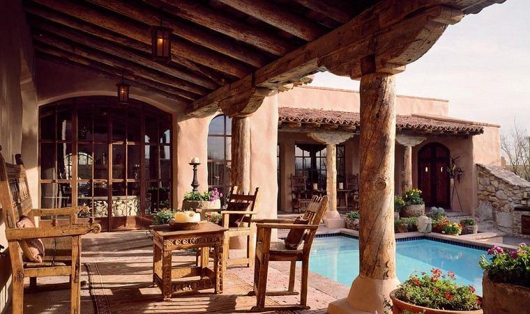 fotos de jardines rústicos-exteriores-piscina