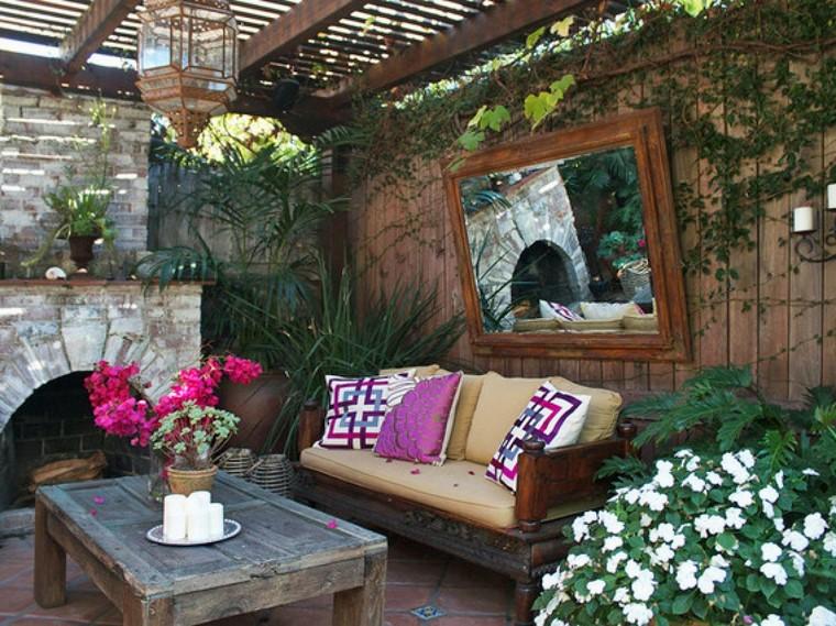 fotos de jardines rústicos-ideas-sofa