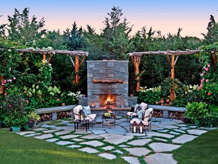 fotos de jardines rústicos-pergolas-madera-losas-grandes