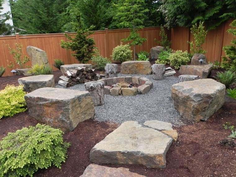 fotos de jardines rústicos-piedras-grandes