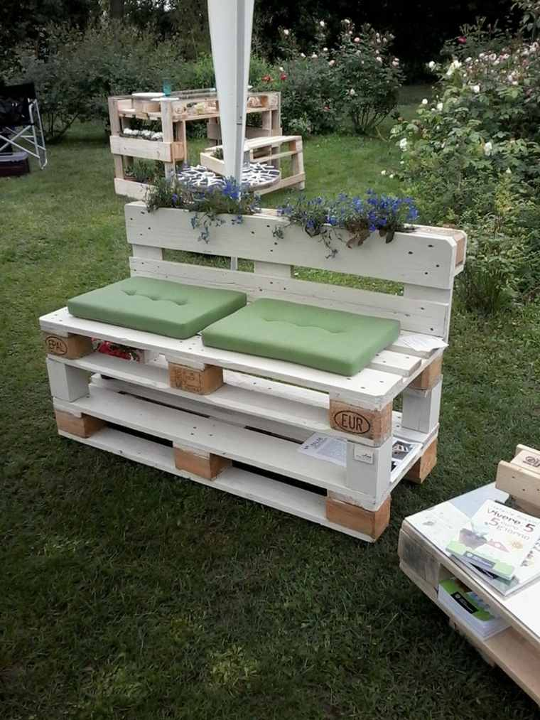 ideas con palets asiento jardineras mueble imagenes - Asientos Con Palets