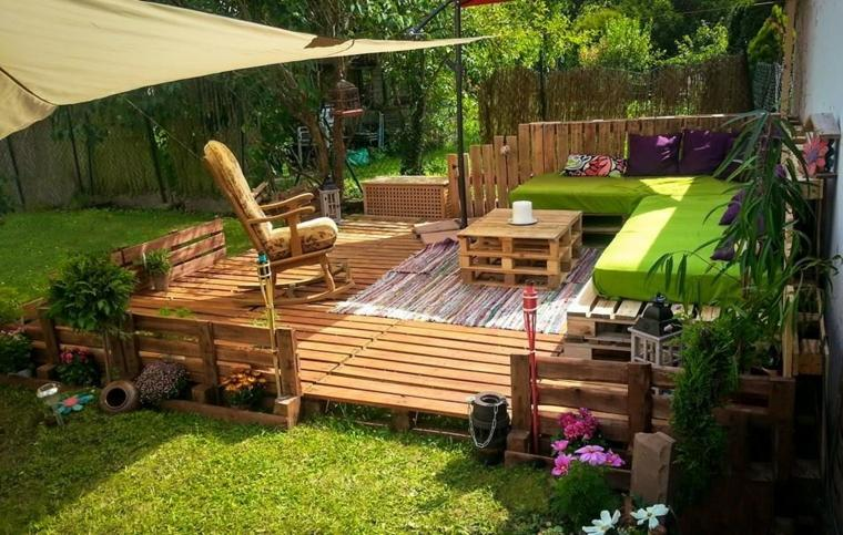 ideas con palets bordes-plataforma-plantadores-velas