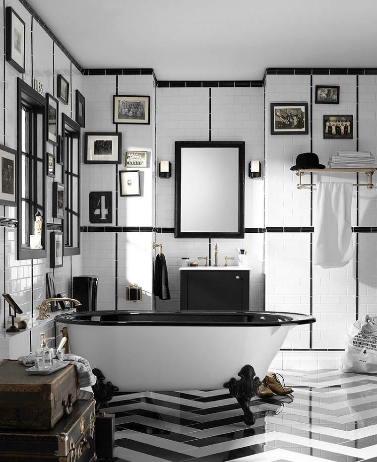 diseño de baños bañeras impresionate solucion blanco negro ambientes cuadros