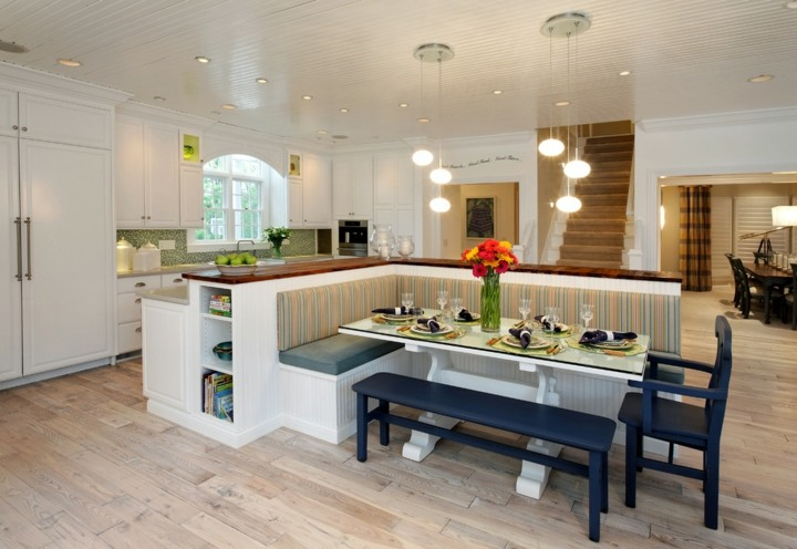 isla banco separador espacios comedor madera